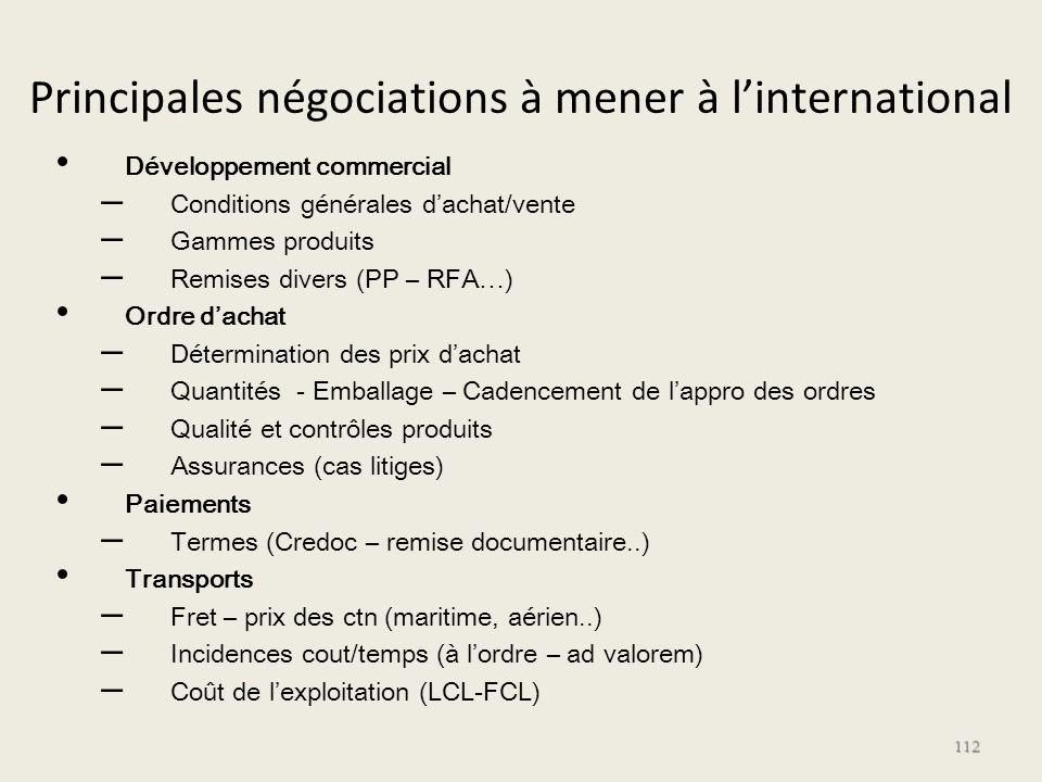 Principales négociations à mener à linternational Développement commercial – Conditions générales dachat/vente – Gammes produits – Remises divers (PP