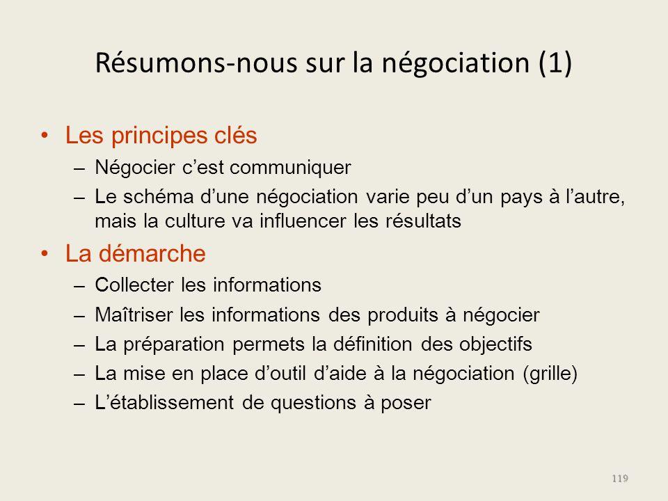 Résumons-nous sur la négociation (1) Les principes clés – Négocier cest communiquer – Le schéma dune négociation varie peu dun pays à lautre, mais la