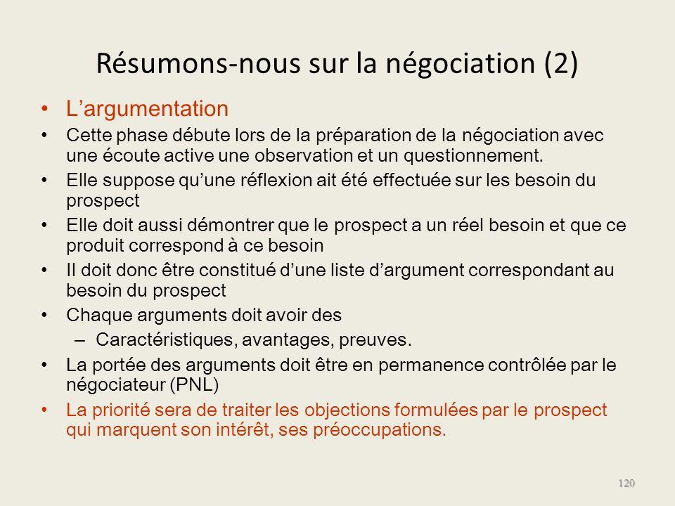 Résumons-nous sur la négociation (2) Largumentation Cette phase débute lors de la préparation de la négociation avec une écoute active une observation