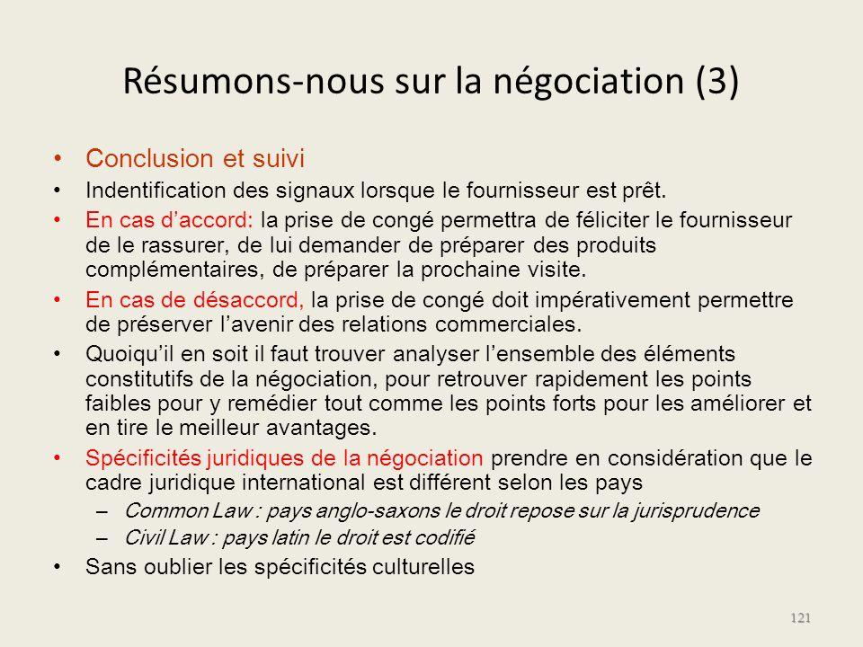 Résumons-nous sur la négociation (3) Conclusion et suivi Indentification des signaux lorsque le fournisseur est prêt. En cas daccord: la prise de cong