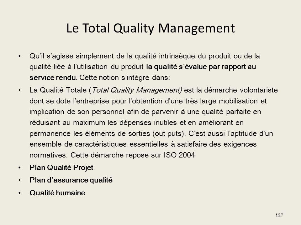 Le Total Quality Management Quil sagisse simplement de la qualité intrinsèque du produit ou de la qualité liée à lutilisation du produit la qualité sé