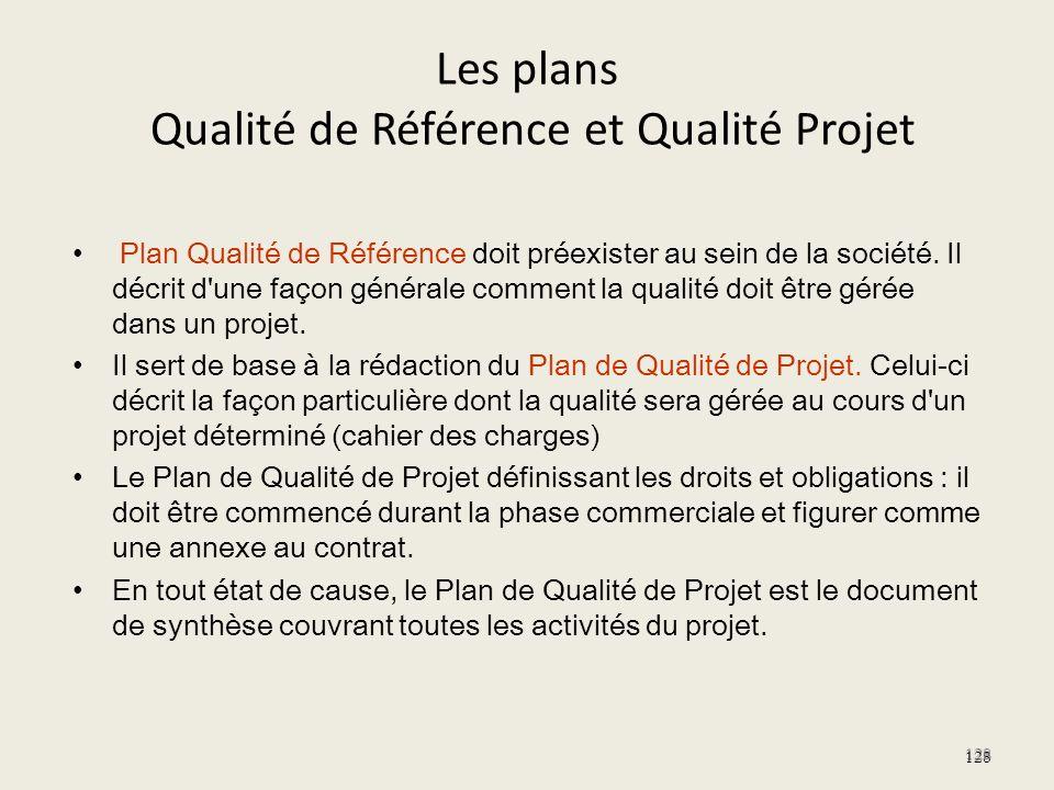 Les plans Qualité de Référence et Qualité Projet Plan Qualité de Référence doit préexister au sein de la société. Il décrit d'une façon générale comme