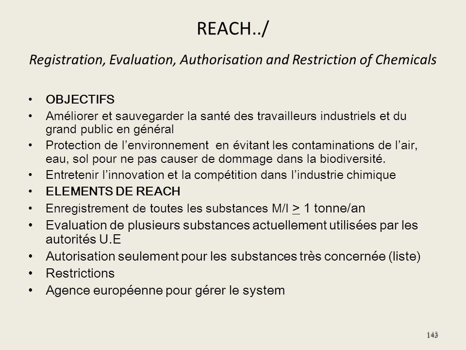 REACH../ Registration, Evaluation, Authorisation and Restriction of Chemicals OBJECTIFS Améliorer et sauvegarder la santé des travailleurs industriels