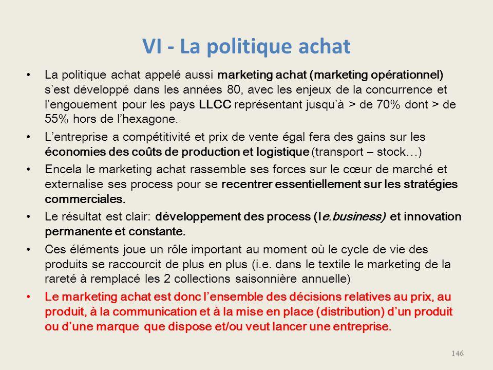 VI - La politique achat La politique achat appelé aussi marketing achat (marketing opérationnel) sest développé dans les années 80, avec les enjeux de