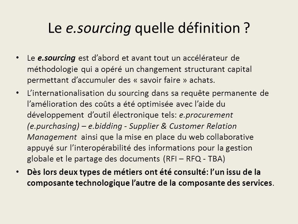 Le e.sourcing quelle définition ? Le e.sourcing est dabord et avant tout un accélérateur de méthodologie qui a opéré un changement structurant capital