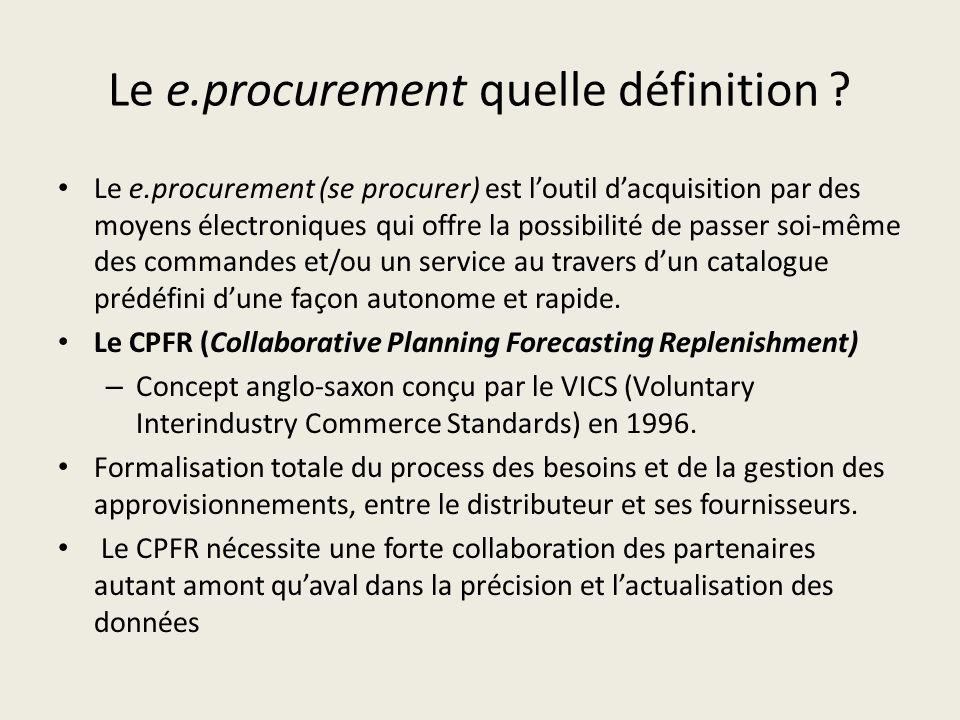 Le e.procurement quelle définition ? Le e.procurement (se procurer) est loutil dacquisition par des moyens électroniques qui offre la possibilité de p
