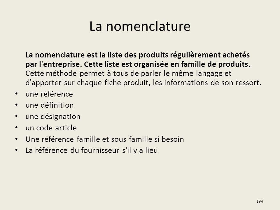 La nomenclature La nomenclature est la liste des produits régulièrement achetés par l'entreprise. Cette liste est organisée en famille de produits. Ce