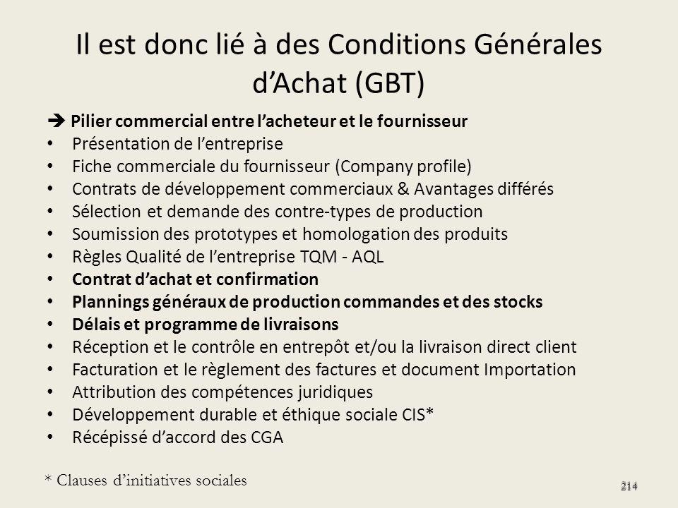 Il est donc lié à des Conditions Générales dAchat (GBT) Pilier commercial entre lacheteur et le fournisseur Présentation de lentreprise Fiche commerci