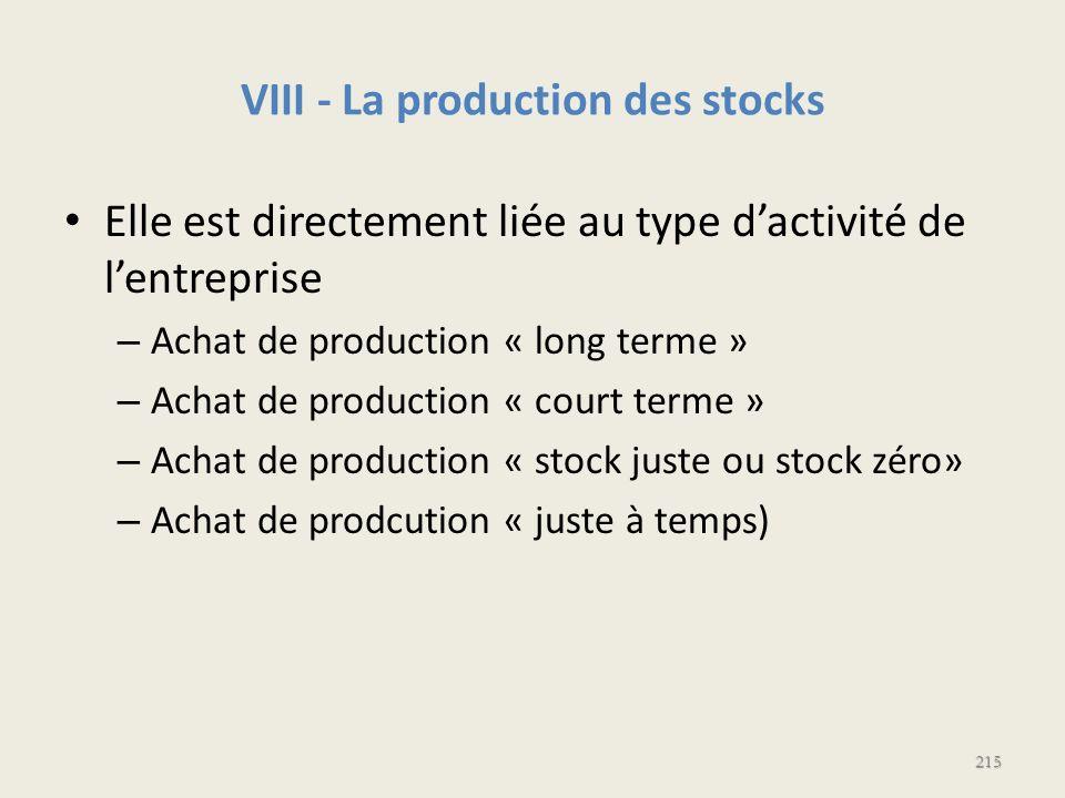 VIII - La production des stocks Elle est directement liée au type dactivité de lentreprise – Achat de production « long terme » – Achat de production