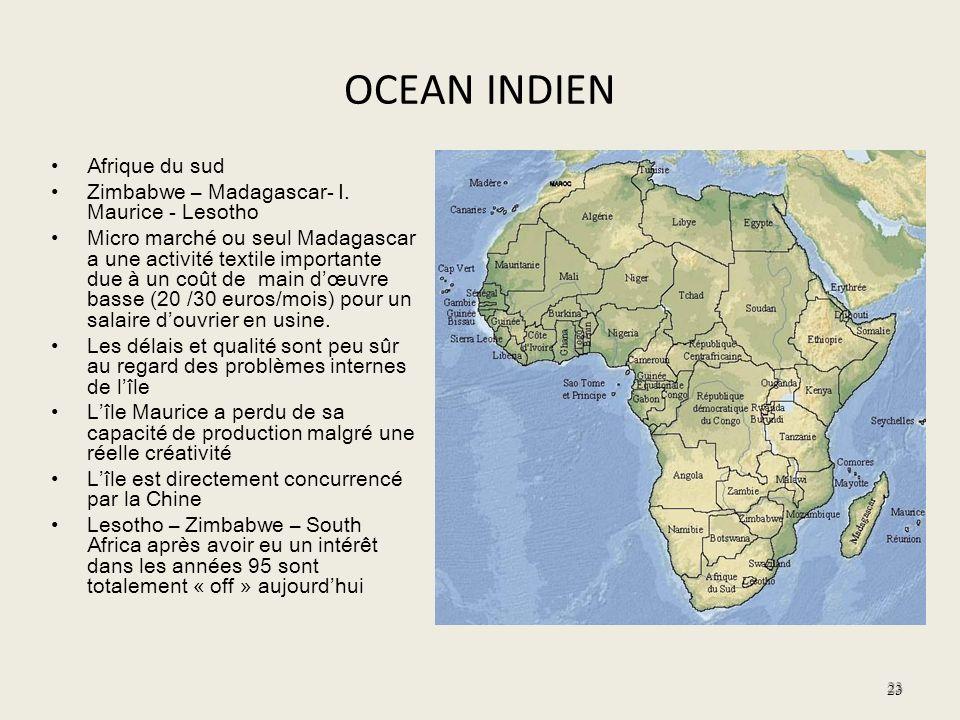 OCEAN INDIEN Afrique du sud Zimbabwe – Madagascar- I. Maurice - Lesotho Micro marché ou seul Madagascar a une activité textile importante due à un coû