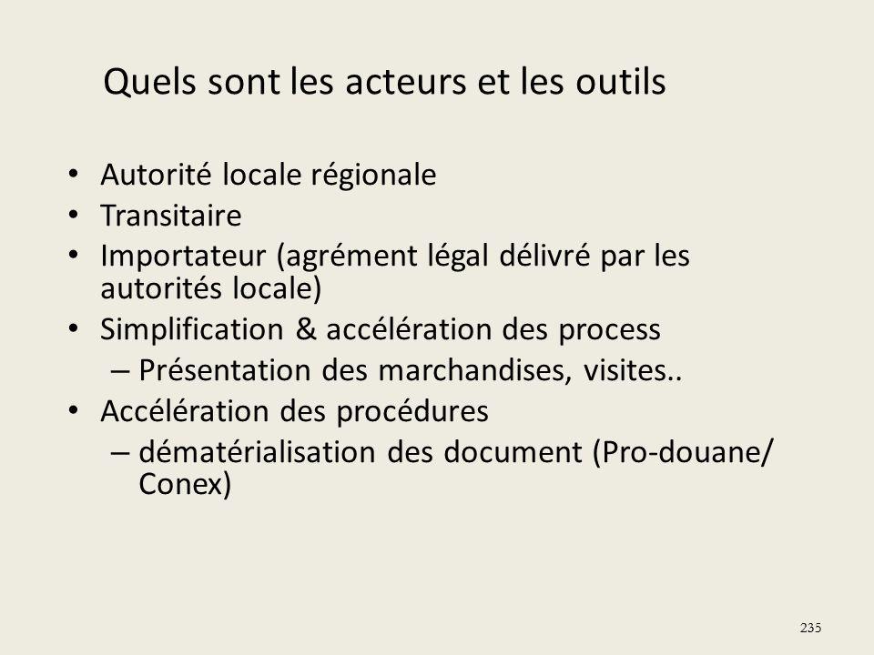 235 Quels sont les acteurs et les outils Autorité locale régionale Transitaire Importateur (agrément légal délivré par les autorités locale) Simplific