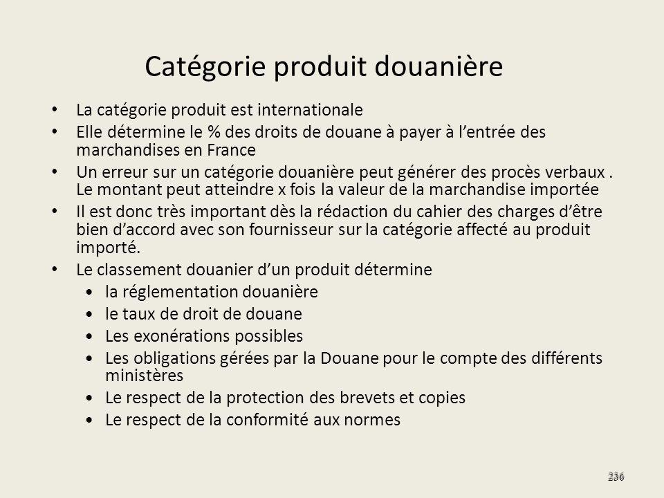 Catégorie produit douanière La catégorie produit est internationale Elle détermine le % des droits de douane à payer à lentrée des marchandises en Fra