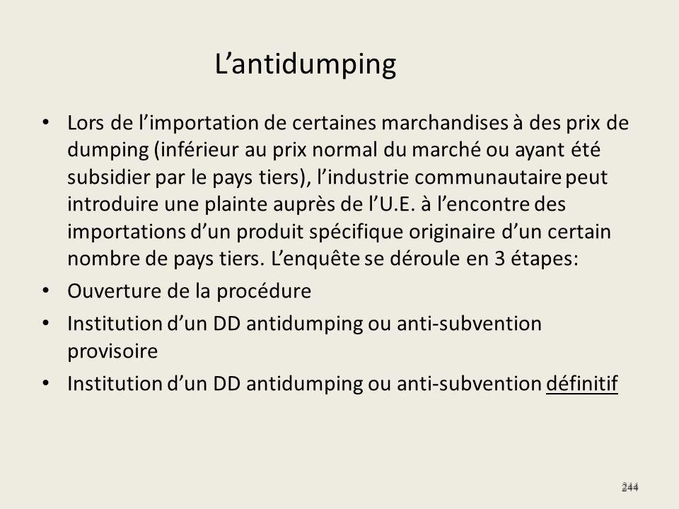 244 Lors de limportation de certaines marchandises à des prix de dumping (inférieur au prix normal du marché ou ayant été subsidier par le pays tiers)