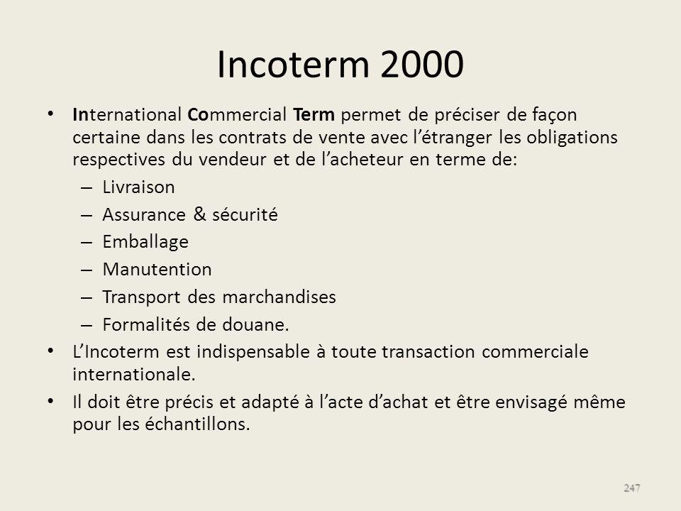 Incoterm 2000 International Commercial Term permet de préciser de façon certaine dans les contrats de vente avec létranger les obligations respectives