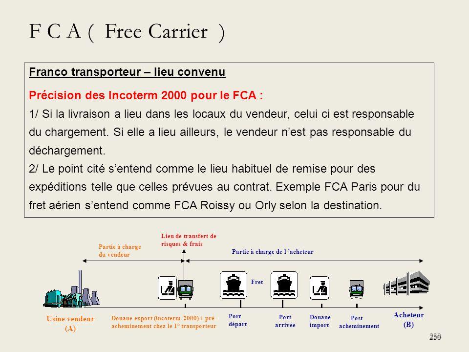 250 Franco transporteur – lieu convenu Précision des Incoterm 2000 pour le FCA : 1/ Si la livraison a lieu dans les locaux du vendeur, celui ci est re