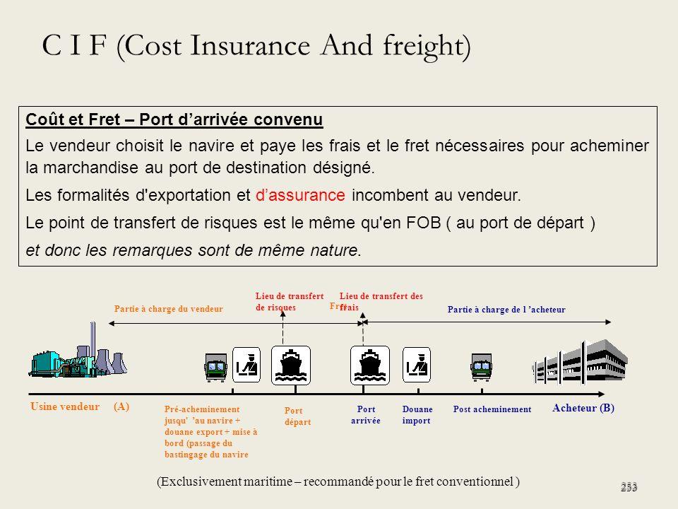 253 Coût et Fret – Port darrivée convenu Le vendeur choisit le navire et paye les frais et le fret nécessaires pour acheminer la marchandise au port d
