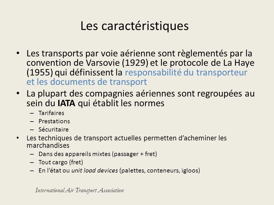 Les caractéristiques Les transports par voie aérienne sont règlementés par la convention de Varsovie (1929) et le protocole de La Haye (1955) qui défi