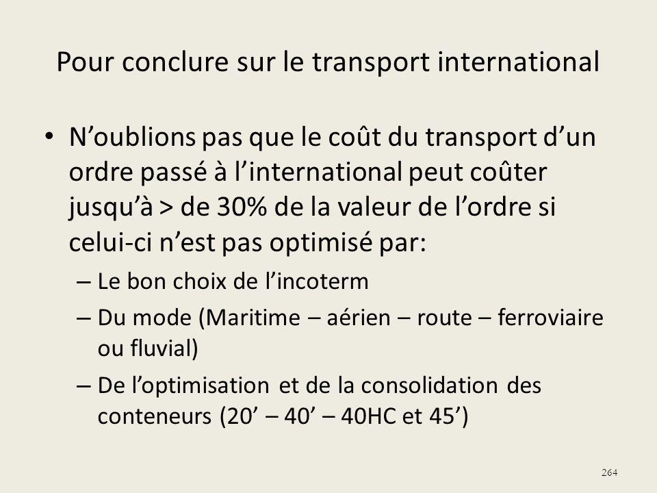 264 Pour conclure sur le transport international Noublions pas que le coût du transport dun ordre passé à linternational peut coûter jusquà > de 30% d