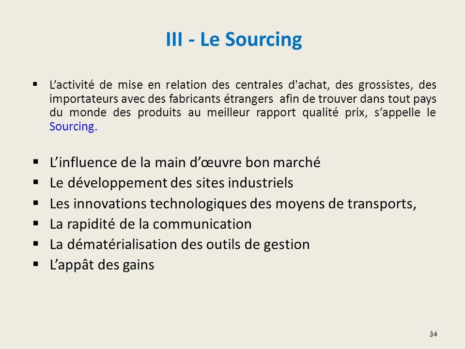 III - Le Sourcing Lactivité de mise en relation des centrales d'achat, des grossistes, des importateurs avec des fabricants étrangers afin de trouver