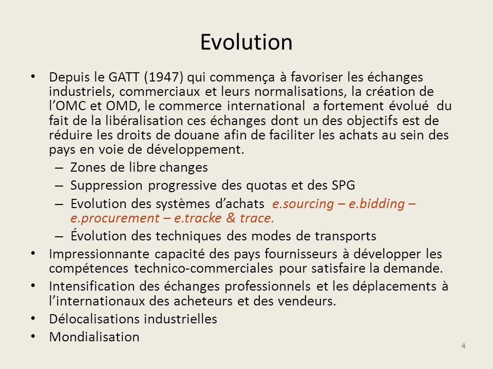 Evolution Depuis le GATT (1947) qui commença à favoriser les échanges industriels, commerciaux et leurs normalisations, la création de lOMC et OMD, le