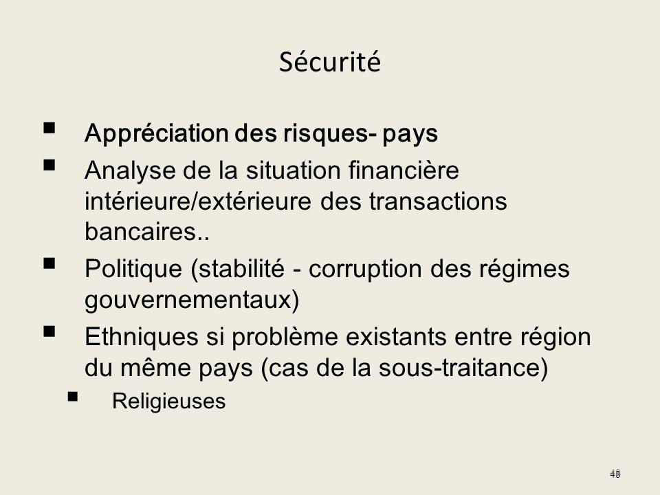 Sécurité Appréciation des risques- pays Analyse de la situation financière intérieure/extérieure des transactions bancaires.. Politique (stabilité - c
