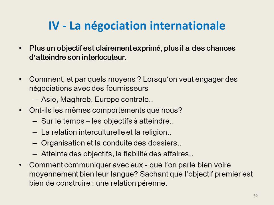 IV - La négociation internationale Plus un objectif est clairement exprim é, plus il a des chances d atteindre son interlocuteur. Comment, et par quel