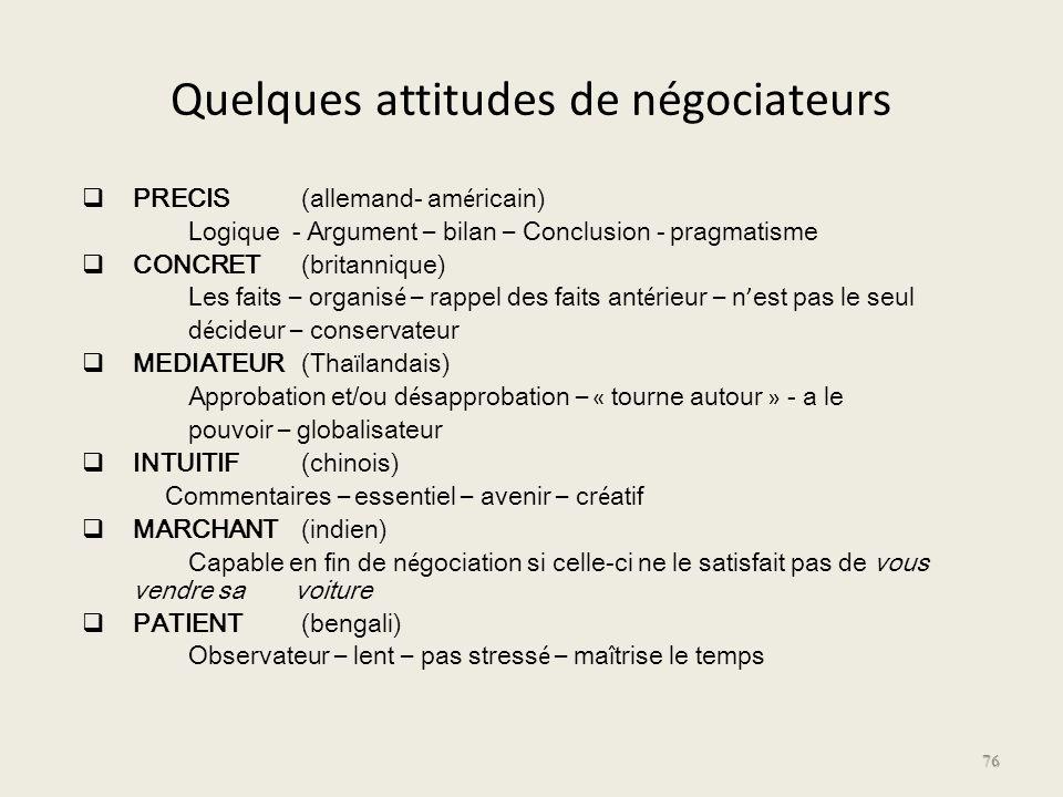 Quelques attitudes de négociateurs PRECIS (allemand- am é ricain) Logique - Argument – bilan – Conclusion - pragmatisme CONCRET (britannique) Les fait