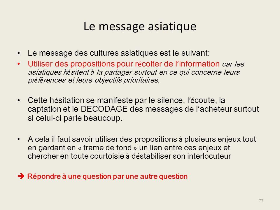 Le message asiatique Le message des cultures asiatiques est le suivant: Utiliser des propositions pour r é colter de l information car les asiatiques
