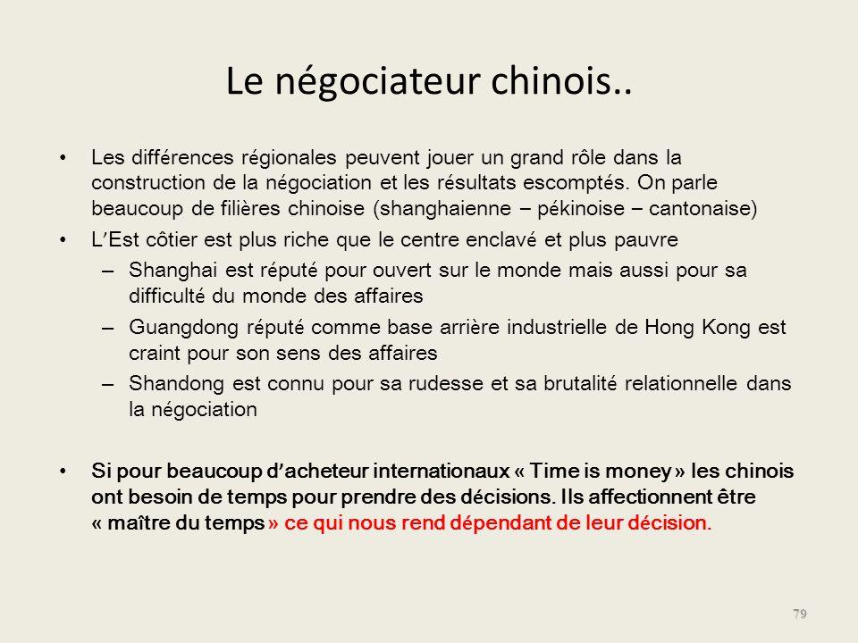 Le négociateur chinois.. Les diff é rences r é gionales peuvent jouer un grand rôle dans la construction de la n é gociation et les r é sultats escomp