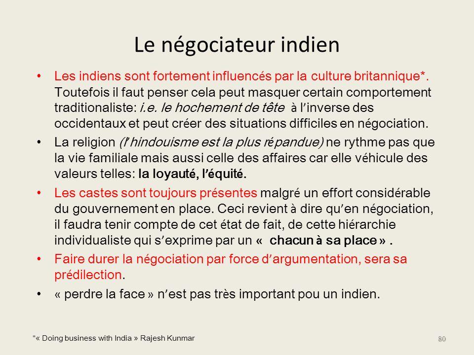Le négociateur indien Les indiens sont fortement influenc é s par la culture britannique*. Toutefois il faut penser cela peut masquer certain comporte