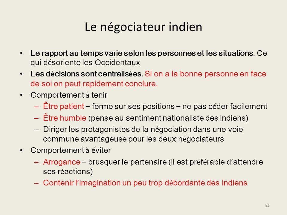 Le négociateur indien Le rapport au temps varie selon les personnes et les situations. Ce qui d é soriente les Occidentaux Les d é cisions sont centra