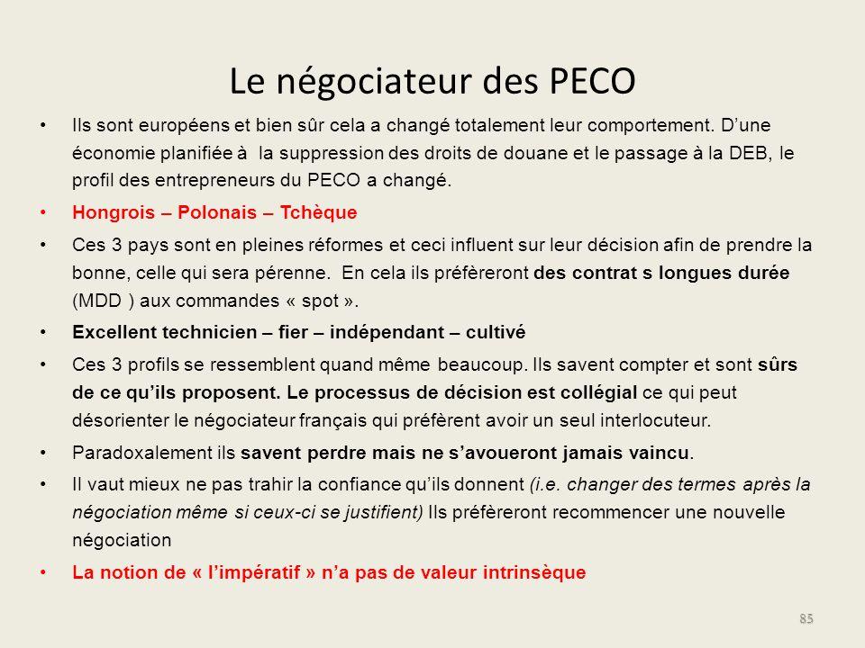 Le négociateur des PECO Ils sont européens et bien sûr cela a changé totalement leur comportement. Dune économie planifiée à la suppression des droits