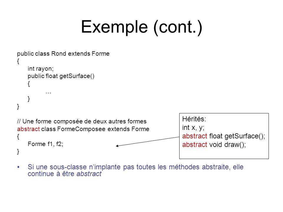 Exemple (cont.) public class Rond extends Forme { int rayon; public float getSurface() { … } // Une forme composée de deux autres formes abstract class FormeComposee extends Forme { Forme f1, f2; } Si une sous-classe nimplante pas toutes les méthodes abstraite, elle continue à être abstract Hérités: int x, y; abstract float getSurface(); abstract void draw();