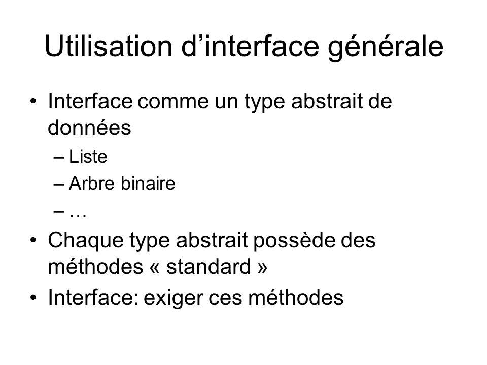 Utilisation dinterface générale Interface comme un type abstrait de données –Liste –Arbre binaire –… Chaque type abstrait possède des méthodes « standard » Interface: exiger ces méthodes