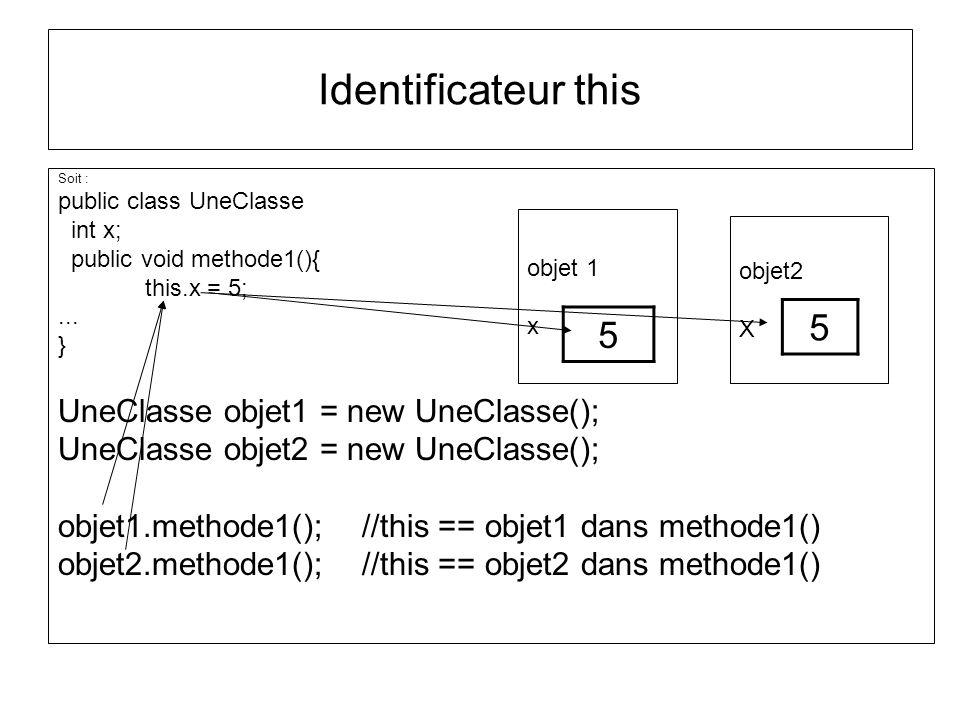 Identificateur this Soit : public class UneClasse int x; public void methode1(){ this.x = 5;... } UneClasse objet1 = new UneClasse(); UneClasse objet2