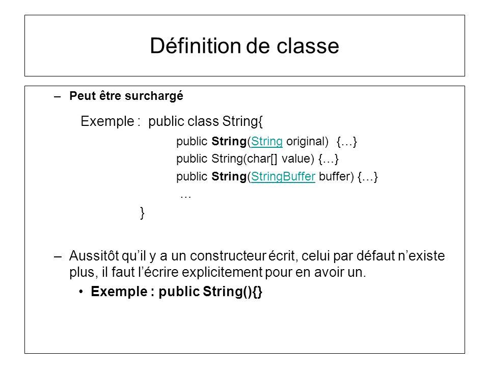 Définition de classe –Peut être surchargé Exemple : public class String{ public String(String original) {…}String public String(char[] value) {…} publ