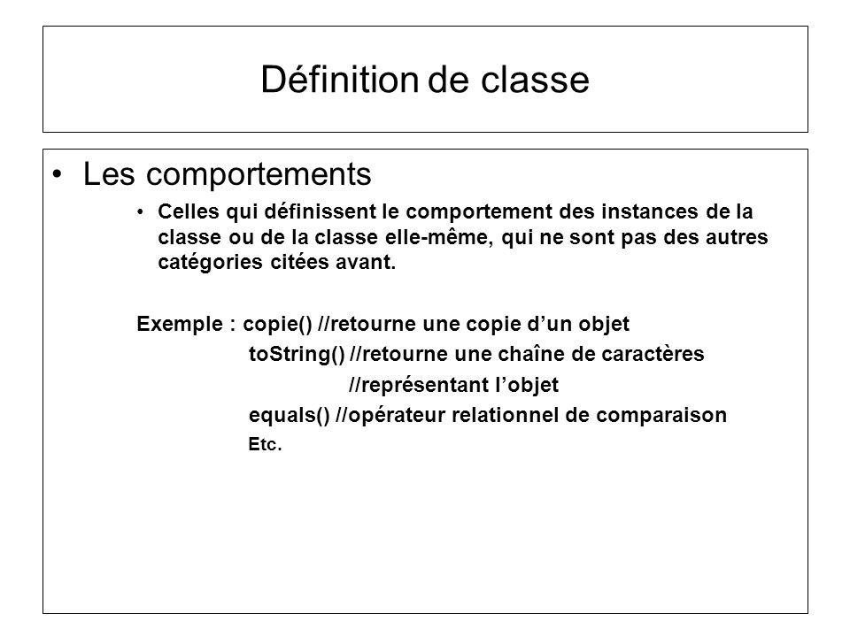 Définition de classe Les comportements Celles qui définissent le comportement des instances de la classe ou de la classe elle-même, qui ne sont pas de