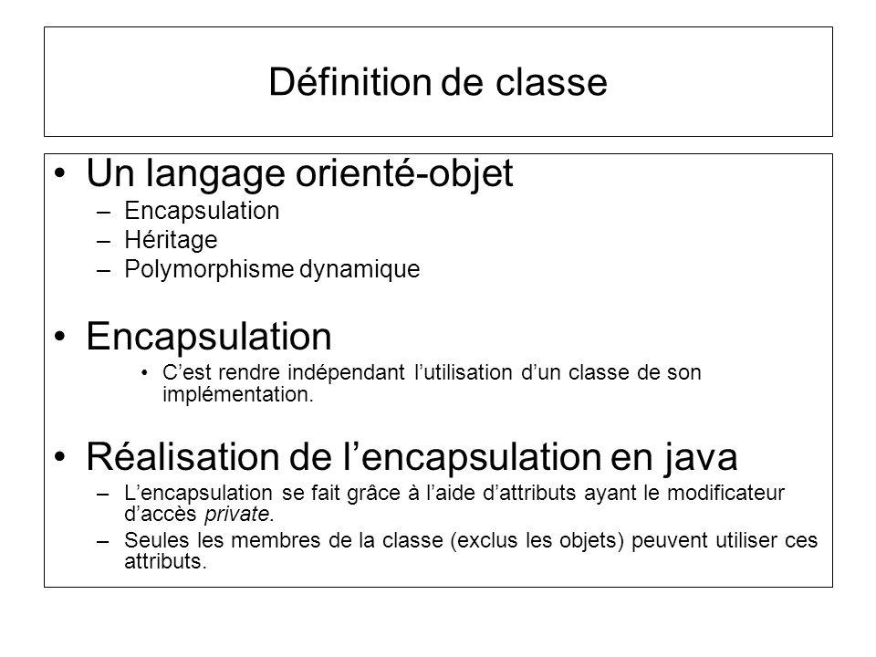 Définition de classe Un langage orienté-objet –Encapsulation –Héritage –Polymorphisme dynamique Encapsulation Cest rendre indépendant lutilisation dun