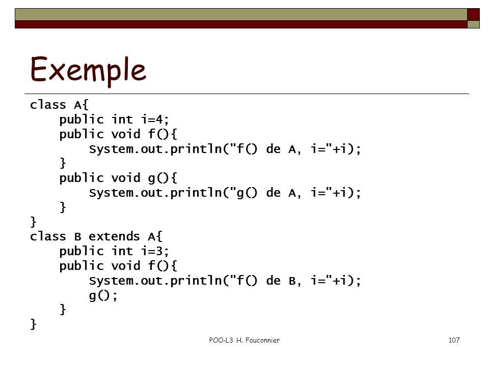 POO-L3 H. Fauconnier107 Exemple class A{ public int i=4; public void f(){ System.out.println(