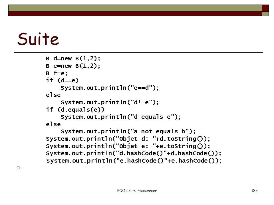 POO-L3 H. Fauconnier123 Suite B d=new B(1,2); B e=new B(1,2); B f=e; if (d==e) System.out.println(