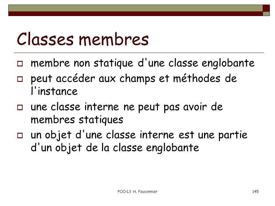 POO-L3 H. Fauconnier145 Classes membres membre non statique d'une classe englobante peut accéder aux champs et méthodes de l'instance une classe inter