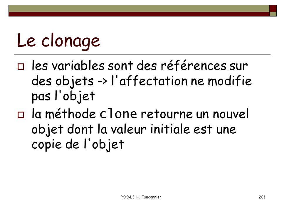 POO-L3 H. Fauconnier201 Le clonage les variables sont des références sur des objets -> l'affectation ne modifie pas l'objet la méthode clone retourne
