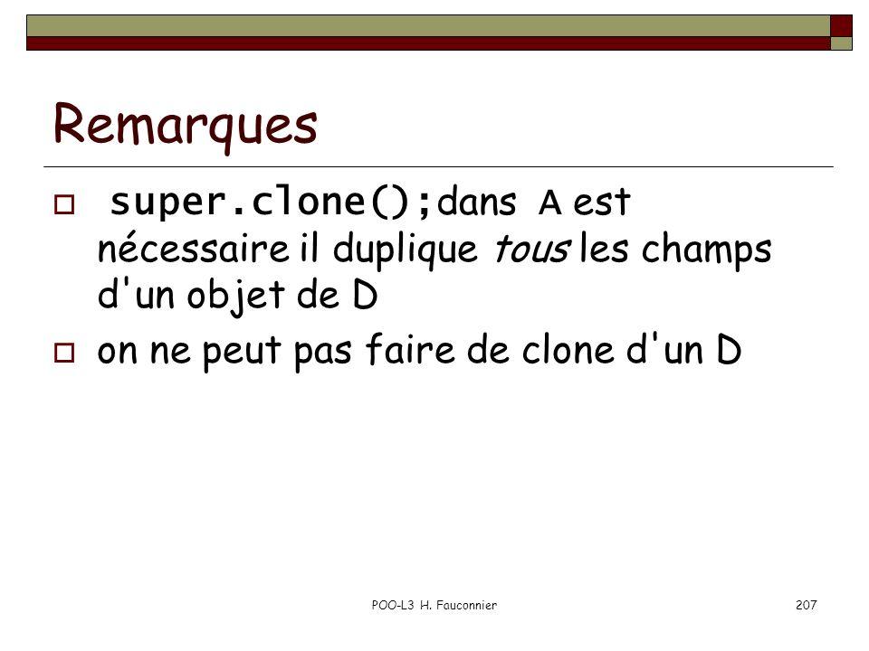Remarques super.clone(); dans A est nécessaire il duplique tous les champs d'un objet de D on ne peut pas faire de clone d'un D POO-L3 H. Fauconnier20