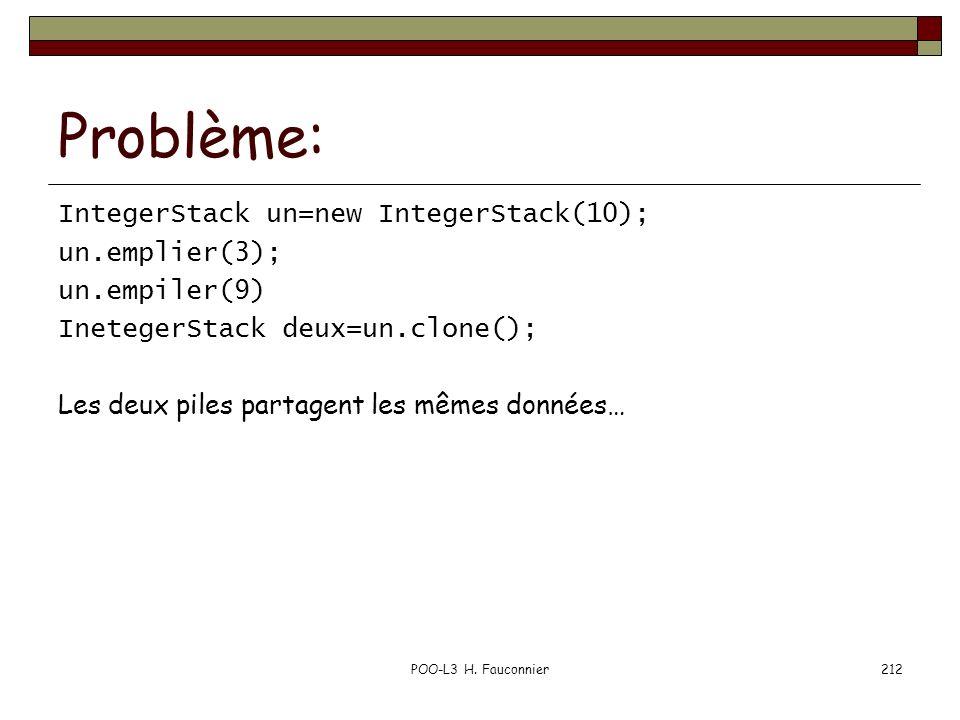 POO-L3 H. Fauconnier212 Problème: IntegerStack un=new IntegerStack(10); un.emplier(3); un.empiler(9) InetegerStack deux=un.clone(); Les deux piles par