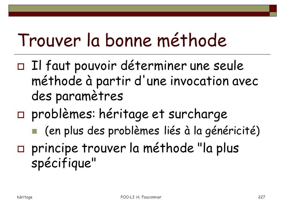 héritagePOO-L3 H. Fauconnier227 Trouver la bonne méthode Il faut pouvoir déterminer une seule méthode à partir d'une invocation avec des paramètres pr