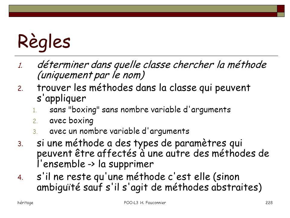 héritagePOO-L3 H. Fauconnier228 Règles 1. déterminer dans quelle classe chercher la méthode (uniquement par le nom) 2. trouver les méthodes dans la cl