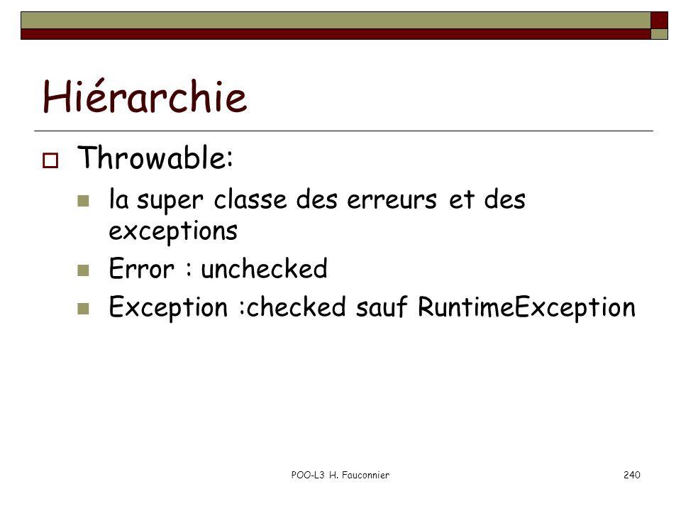 POO-L3 H. Fauconnier240 Hiérarchie Throwable: la super classe des erreurs et des exceptions Error : unchecked Exception :checked sauf RuntimeException