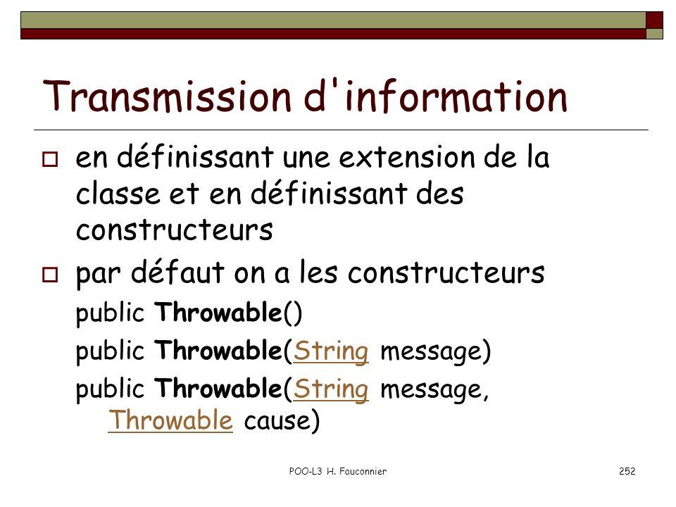 POO-L3 H. Fauconnier252 Transmission d'information en définissant une extension de la classe et en définissant des constructeurs par défaut on a les c