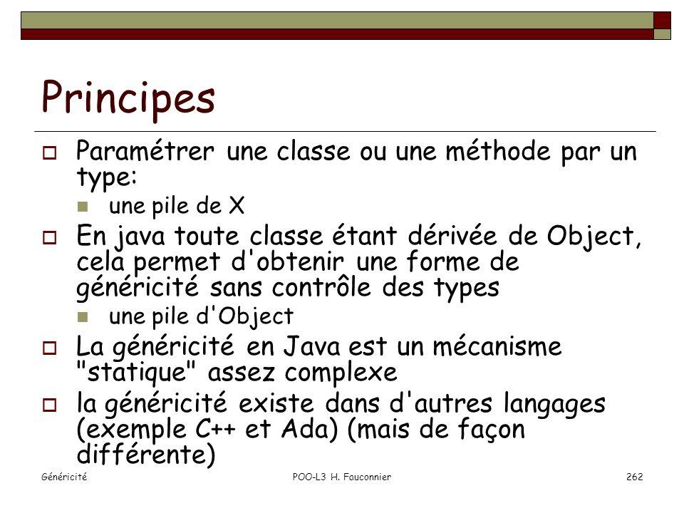 GénéricitéPOO-L3 H. Fauconnier262 Principes Paramétrer une classe ou une méthode par un type: une pile de X En java toute classe étant dérivée de Obje