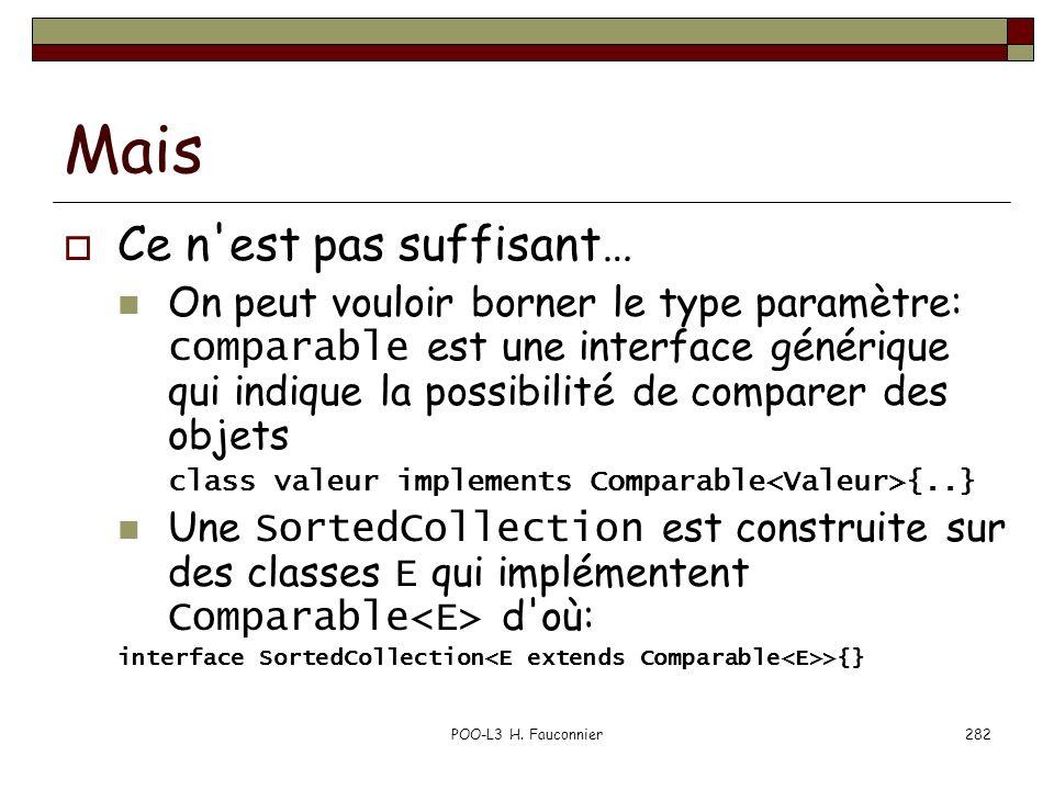 Mais Ce n'est pas suffisant… On peut vouloir borner le type paramètre: comparable est une interface générique qui indique la possibilité de comparer d